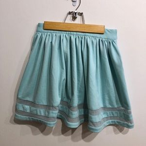 ASOS Turquoise Skater Skirt with Sheer Detailing